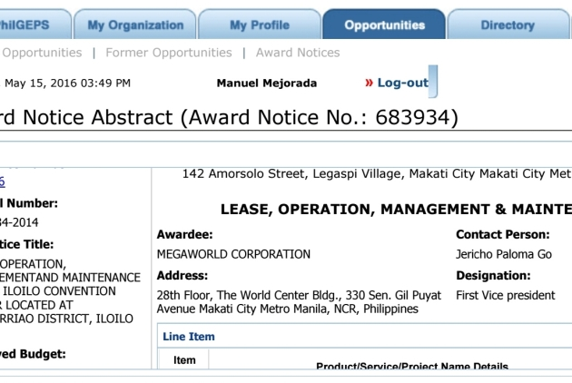 Screenshot NOTICE OF AWARD MEGAWORLD