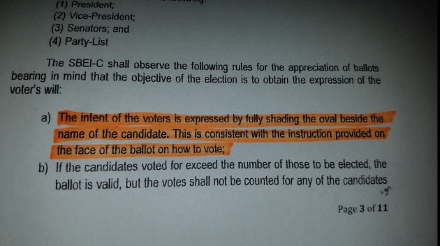 Comelec Resolution Shading Ballots