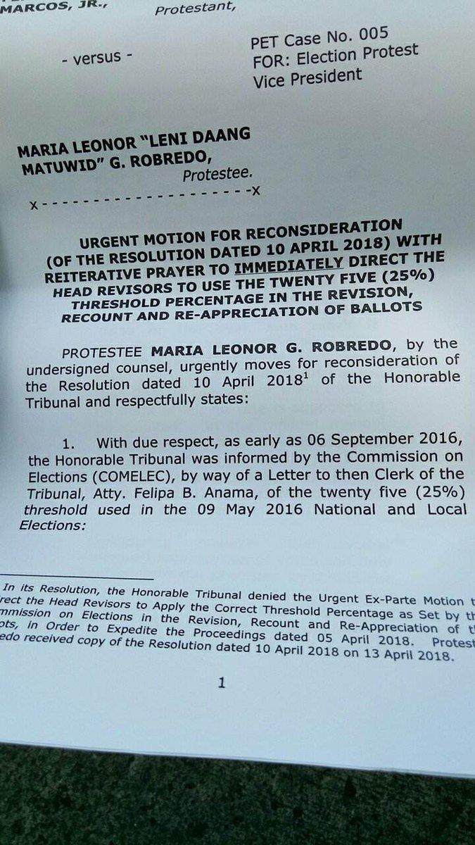 Leni motion for reconsideration