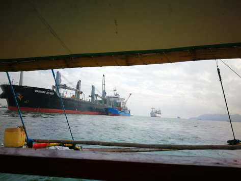 ships at anchor off iloilo port